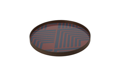Tablett rund, 61cm - Glas, Midnight Chevron Tray