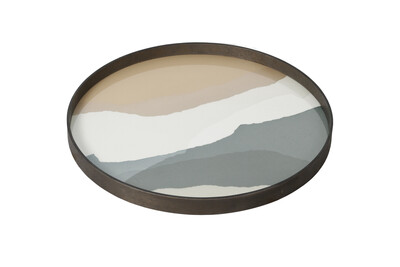 Tablett rund, 61cm - Glas, Slate Wabi Sabi