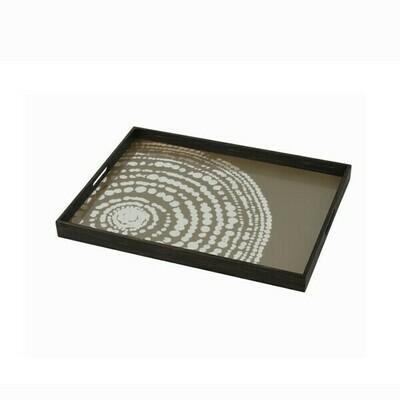 Tablett rechteckig - Spiegelglas, Beaded Detail S