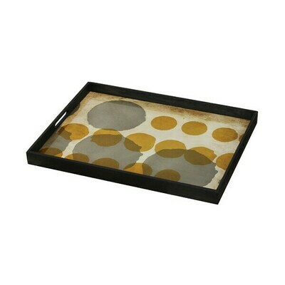 Tablett rechteckig - Glas, Sienna Layered Dots L