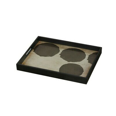 Tablett rechteckig - Glas, Silver Dots S