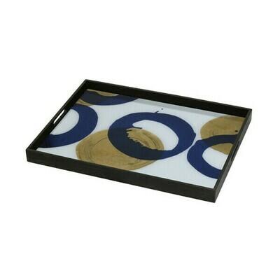 Tablett rechteckig - Glas, Gold And Blue Halos L