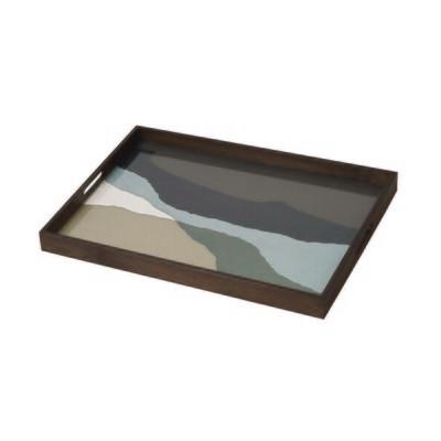 Tablett rechteckig - Glas, Graphite Wabi Sabi L