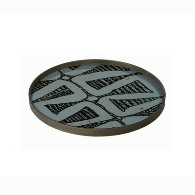 Tablett rund, 61cm - Glas, Dark Bohemian
