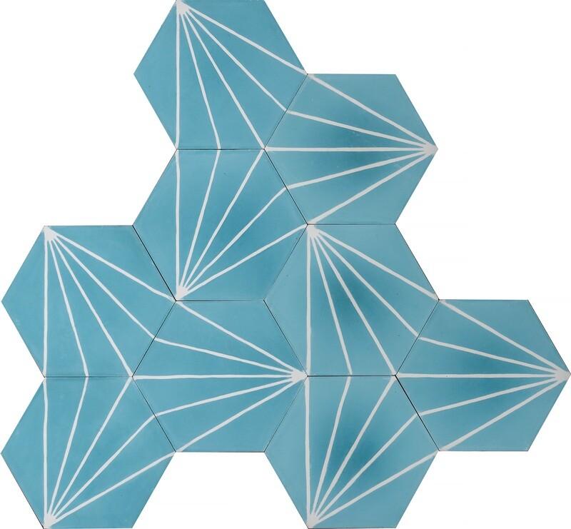 Zementfliese - Dandelion - Azure/Milk