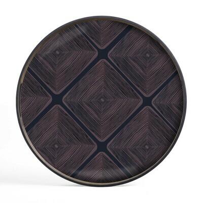 Tablett rund, 48cm - Glas, Midnight Linear Squares