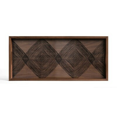 Tablett rechteckig, M - Glas, Walnut Linear Squares
