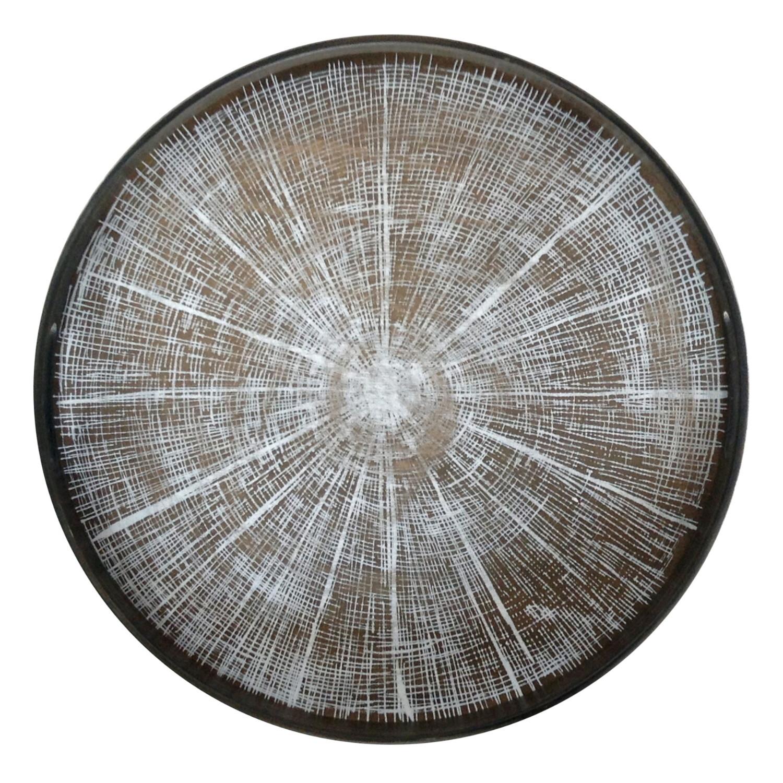 Tablett rund, 48cm - Holz, White Slice