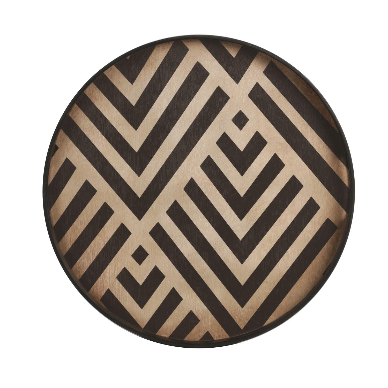 Tablett rund, 48cm - Holz, Graphite Chevron