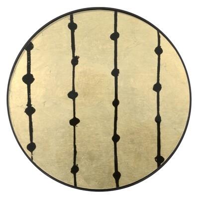 Tablett rund, 48cm - Glas, Brown Dots