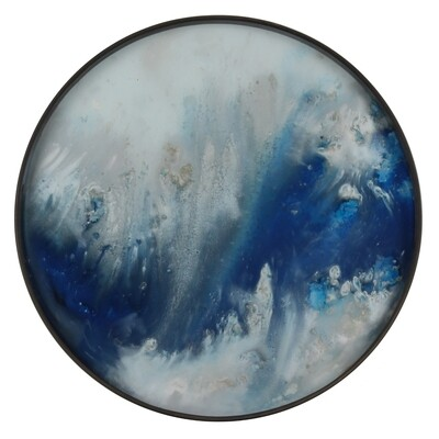 Tablett rund, 48cm - Glas, Blue Mist Organic