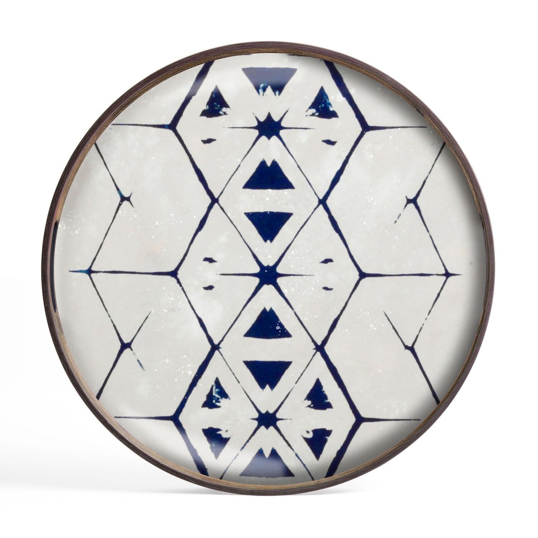 Tablett rund, 48cm - Glas, Hexagon