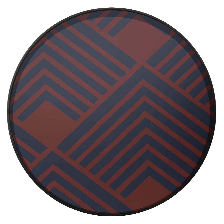 Tablett rund, 61cm - Glas, Midnight Chevron Tray