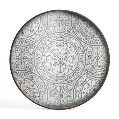 Tablett rund, 61cm - Spiegelglas, Moroccan Frost