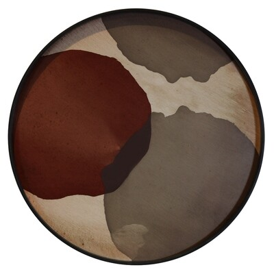 Tablett rund, 61cm - Glas, Overlapping Dots