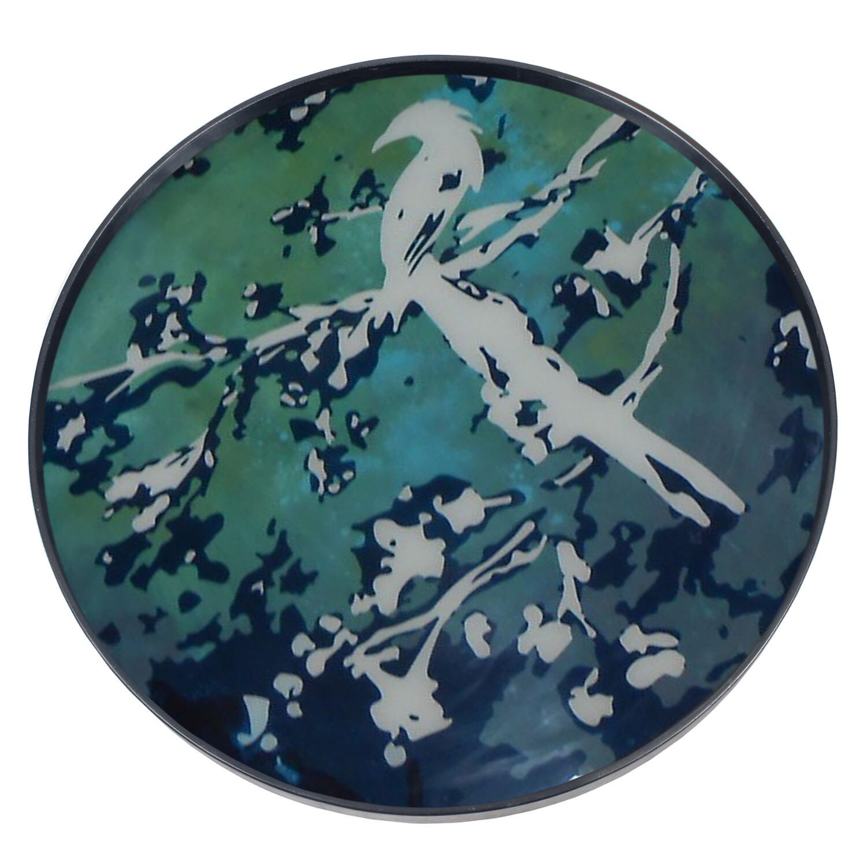 Tablett rund, 61cm - Glas, Birds of Paradise