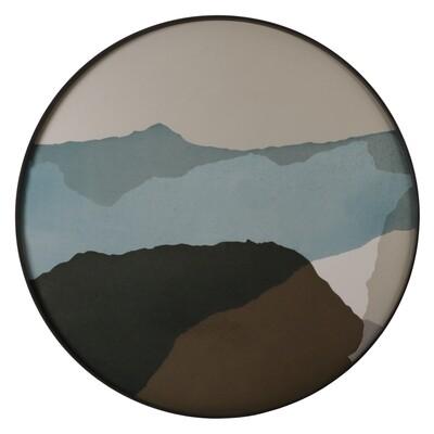Tablett rund, 92cm - Glas, Graphite Wabi Sabi
