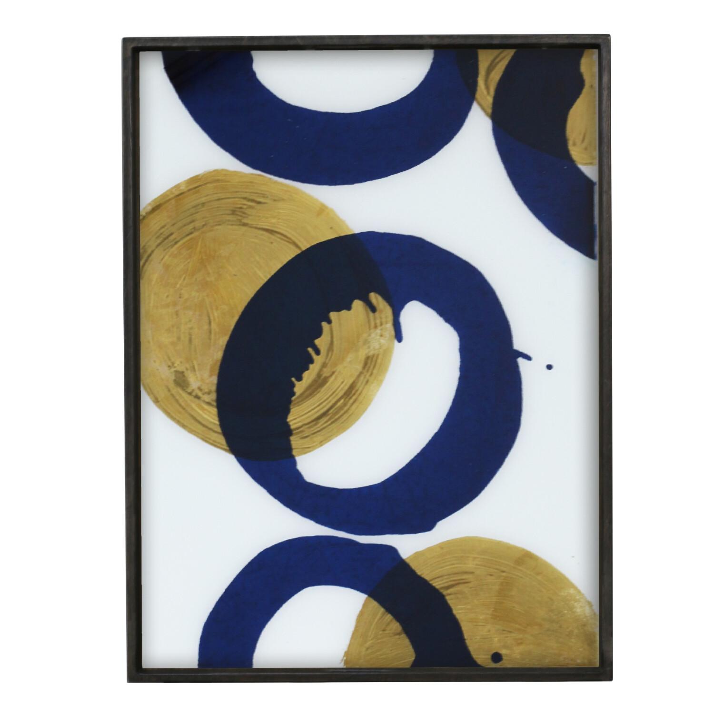 Tablett rechteckig, L - Glas, Gold and Blue Halos