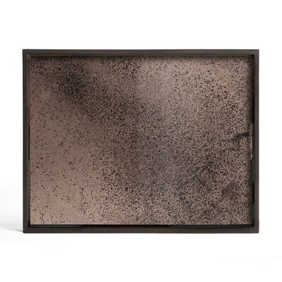 Tablett rechteckig, S - Spiegelglas, Bronze
