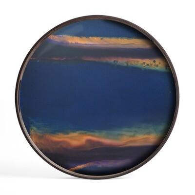 Tablett rund, 48cm - Glas, Indigo Organic
