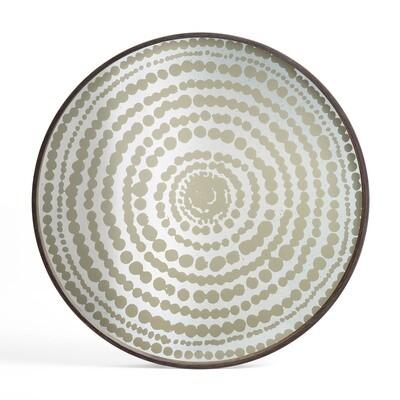 Tablett rund, 61cm - Spiegelglas, Gold Beads
