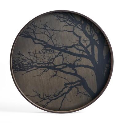 Tablett rund, 61cm - Holz, Black Tree