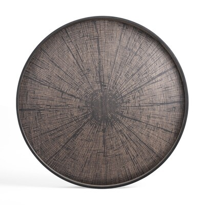 Tablett rund, 92cm - Holz, Black Slice