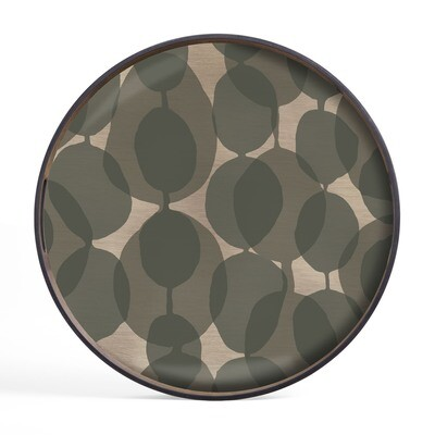 Tablett rund, 48cm - Glas, Connected Dots