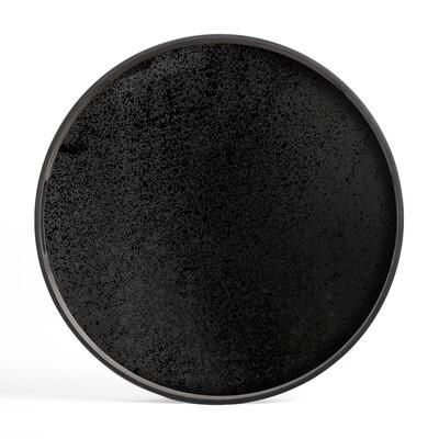Tablett rund, 48cm - Spiegelglas, Charcoal Heavy Aged