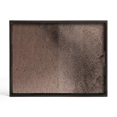 Tablett rechteckig, L - Spiegelglas, Bronze
