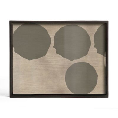 Tablett rechteckig, S - Glas, Silver Dots