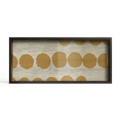 Tablett rechteckig, M - Spiegelglas, Sienna Dots