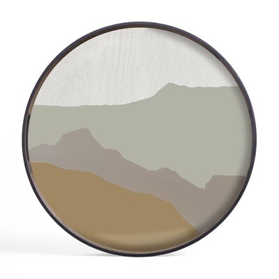 Tablett rund, 48cm - Glas, Sand Wabi Sabi
