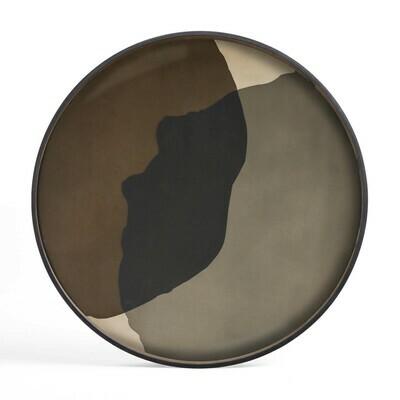 Tablett rund, 92cm - Glas, Graphite Combined Dots