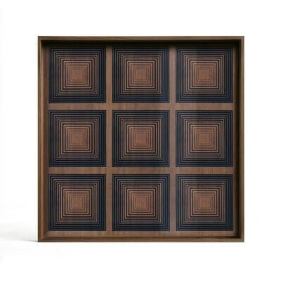 Tablett quadratisch, 51cm - Glas, Ink Squares
