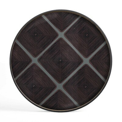 Tablett rund, 92cm - Glas, Slate Linear Squares