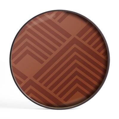 Tablett rund, 61cm - Glas, Orange Chevron Tray