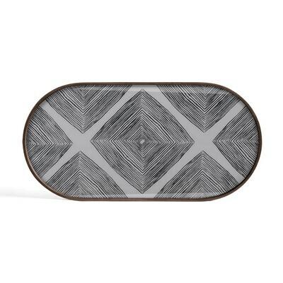 Tablett oval, M - Glas, Slate Linear Squares