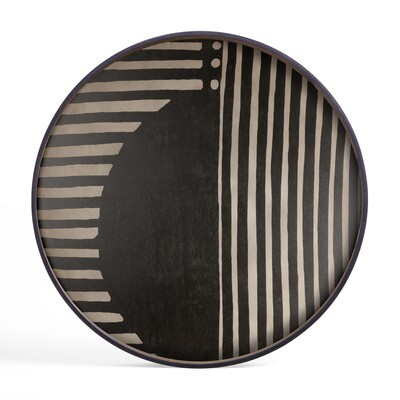Tablett rund, 92cm - Holz, Asymmetric Wooden Tray