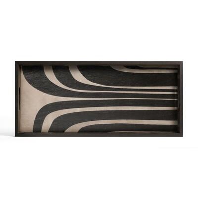 Tablett rechteckig, M - Holz, Graphite Curves