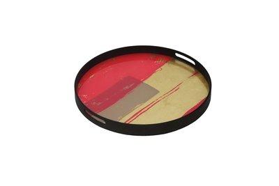 Tablett rund, 48cm - Glas, Raspberry Abstract