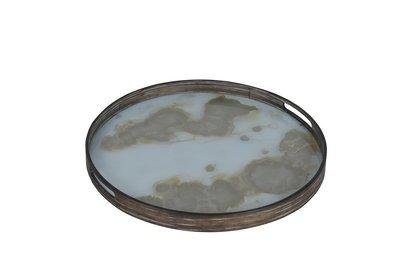 Tablett rund, 48cm - Glas, Gold Mist Organic