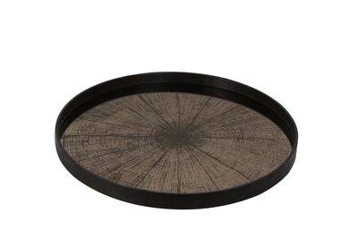 Tablett rund, 61cm - Spiegelglas, Bronze Slice