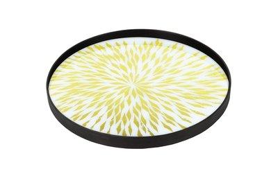 Tablett rund, 61cm - Glas, Dahlia