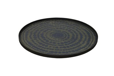 Tablett rund, 92cm - Holz, Stained Beaded Circle