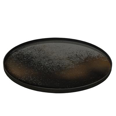Tablett rund, 92cm - Spiegelglas, Bronze Heavy Aged