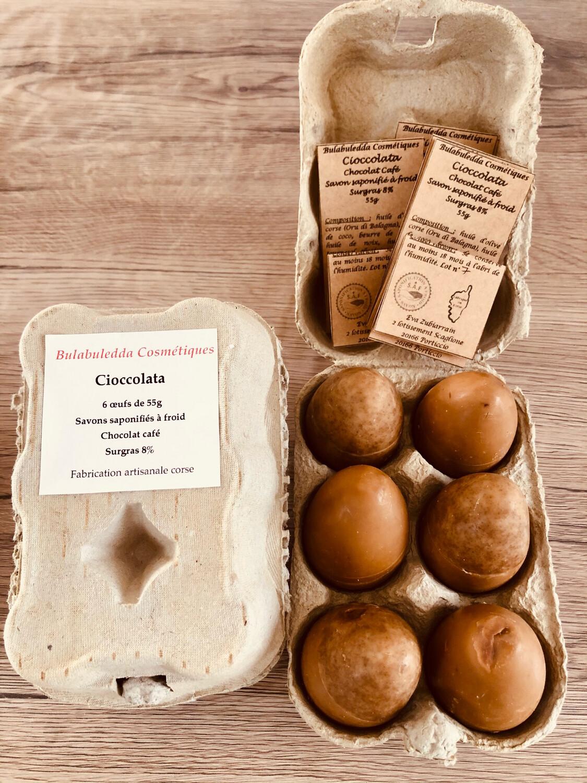 Ovi Di Cioccolata, 6 savons chocolat café de 55g
