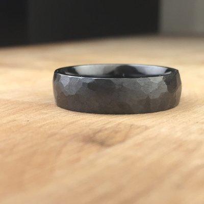 Hand Textured Black Titanium Ring
