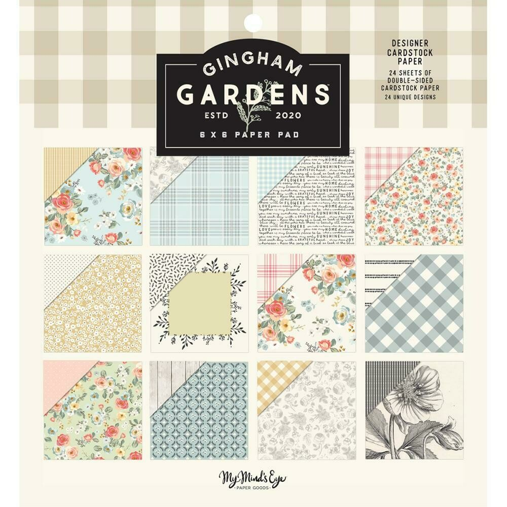 """My Mind's Eye Double-Sided Paper Pad 6""""X6"""" 24/Pkg  Gingham Gardens, 12 Designs/2 Each"""