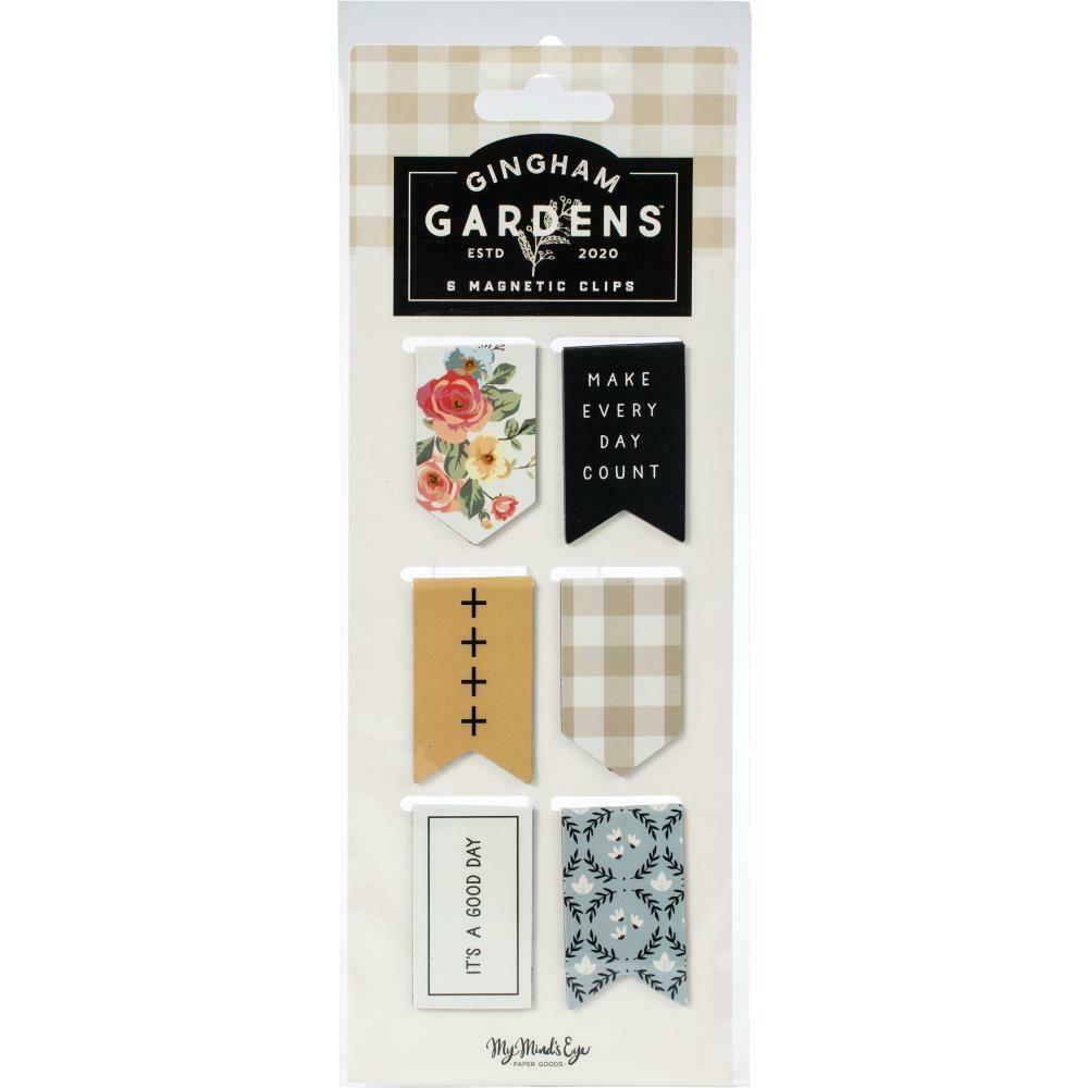 Gingham Gardens Magnetic Clips 6/Pkg